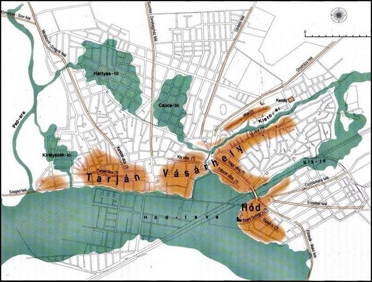 Hódmezővásárhely mai térképe, és az egykori három település (barnával jelölve) a középkori tavak partján