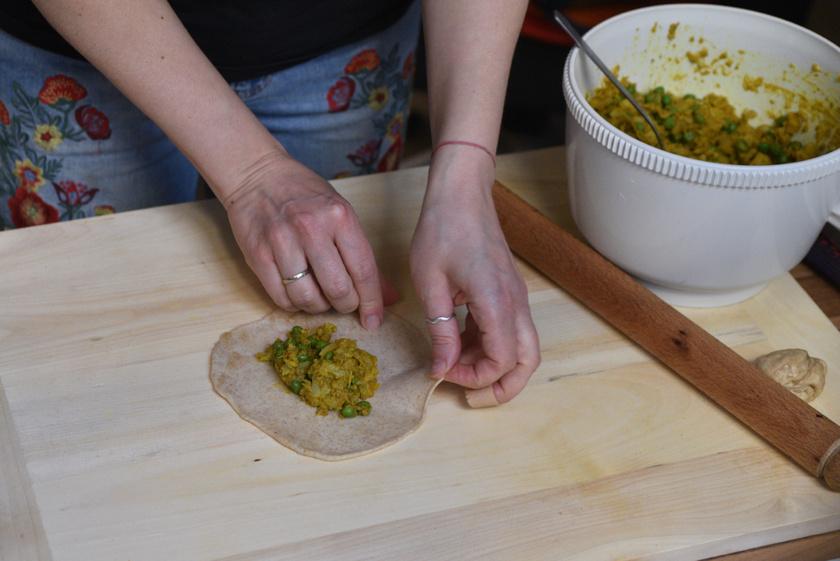 Zöldséges samosa, indiai zöldséges táska