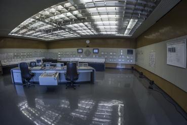 Hetvenes évekbeli zárvány az erőmű irányítóterme. Egyszerű, letisztult, jól áttekinhető.