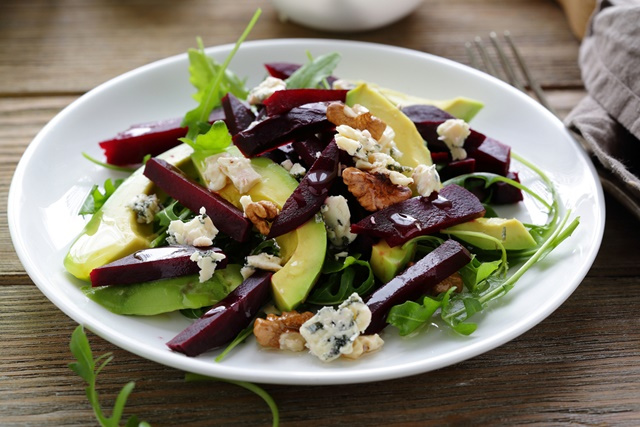 baked beetroot salad with blue cheese and avocado