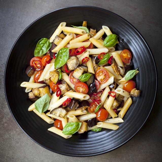 Eggplant, chilli and tomato penne pasta