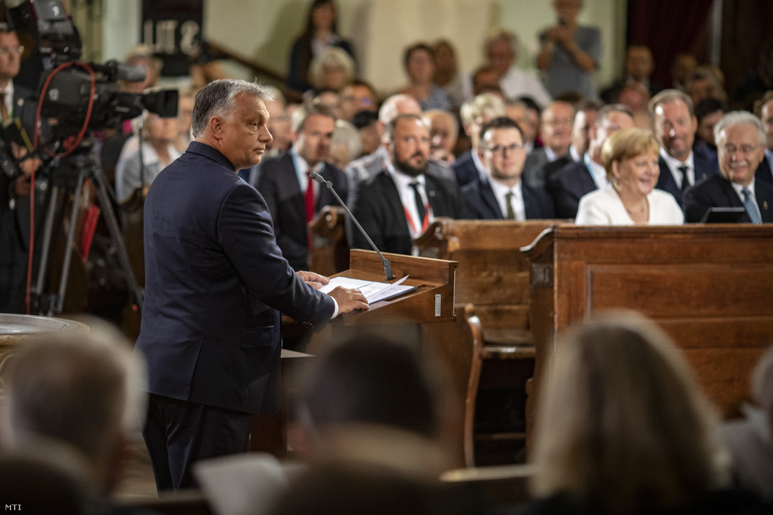 Viktor Orbán in Sopron, speaking at the ecumenical service commemorating the 30th anniversary of the Pan-European Picnic on 19 August 2019.