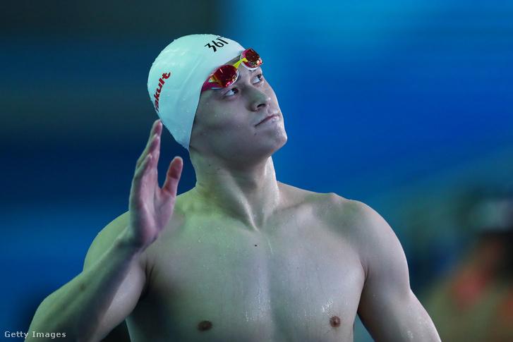 Szun Jang a kvangdzsui világbajnokság 800 méteres freestyle döntő után 2019. július 24-én