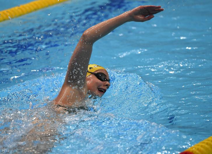 Berecz Blanka a 7. FINA Junior Úszó-világbajnokságon induló versenyzõ edzés közben a budapesti Duna Arénában 2019. augusztus 16-án.