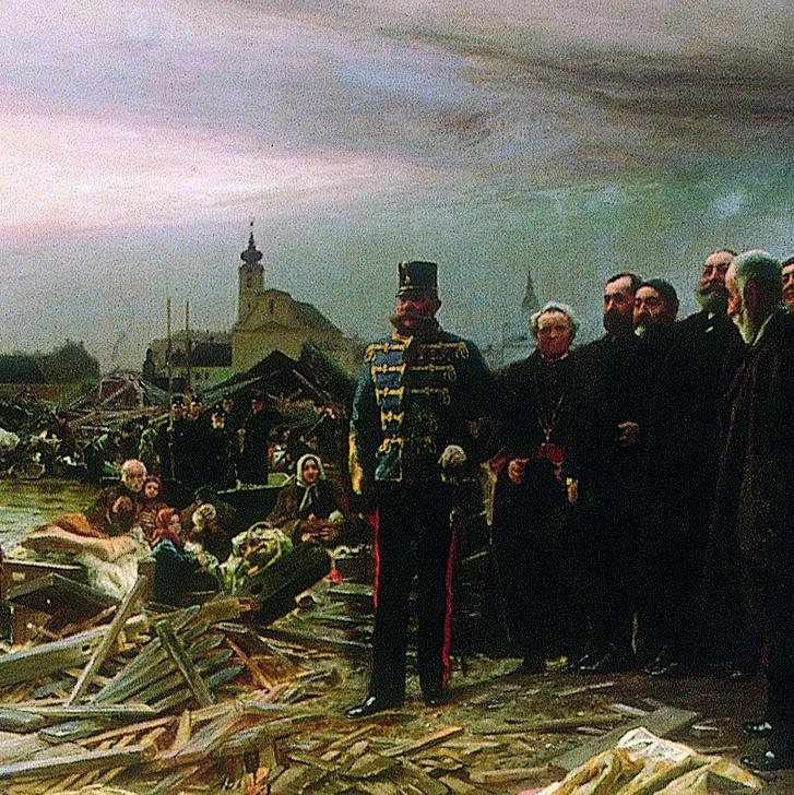 Ferenc József huszárezredesi egyenruhában. Vágó Pál Szeged szebb lesz mint volt című festményének részlete (teljes kép fenn a borítóképben)