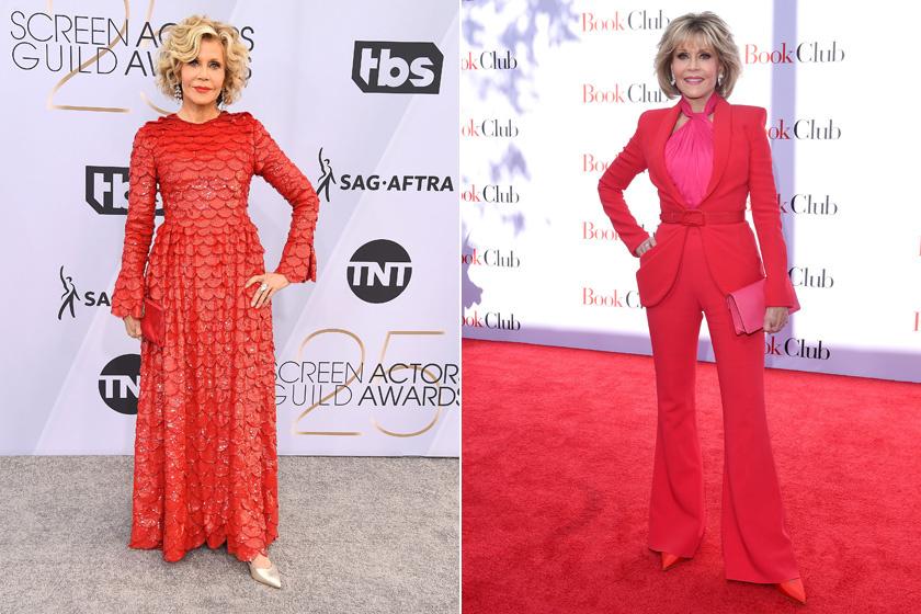 A színésznő nem fél a merész színektől, és ezt nagyon is jól teszi: a pink és a piros szettek teljesen megfiatalítják, ráadásul még inkább felerősítik nőiességét.