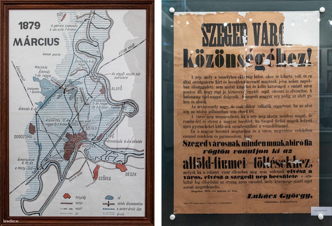 Bal: A szegedi nagy árvíz térképe - jobb: Az árvízvédelmi munkálatokra toborzó plakát az árvíz idéjéből