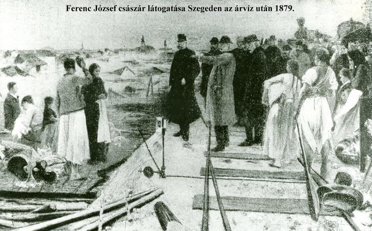 Ferenc József megtekinti az elsodort Szeged romjait