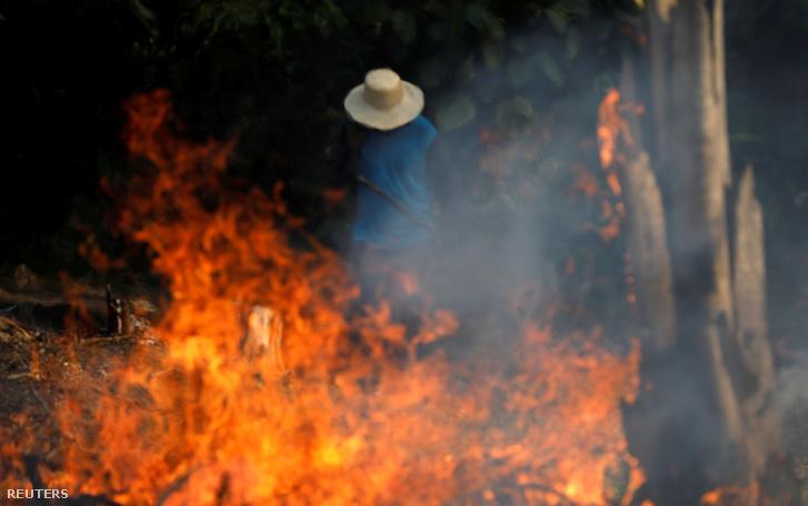 Egy területet égetéses erdőirtással tisztítanak meg az amazóniai esőerdőben 2019. augusztus 20-án
