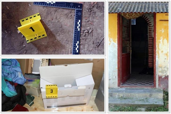 Bűnjelek és a tett helyszíne, ahol az elkövető betört a sértett lakatlan, felújítás alatt álló házába, és onnan több tárgyat eltulajdonított.