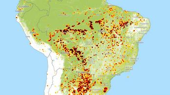 Ezen a térképen élőben követhetők az amazonasi erdőtüzek
