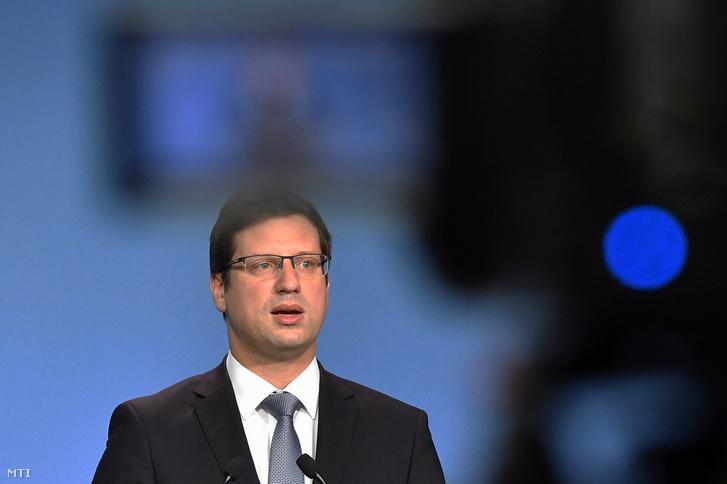 Gulyás Gergely a Miniszterelnökséget vezetõ miniszter a Kormányinfó sajtótájékoztatón a Miniszterelnöki Kabinetiroda Garibaldi utcai sajtótermében 2019. augusztus 23-án.