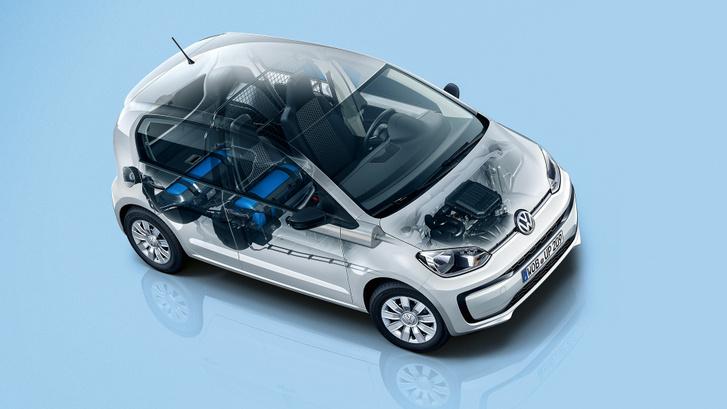 A két gáztartály a csomagtér és a hátsó ülés alatt 11 kg CNG befogadására képes, Kép: Volkswagen