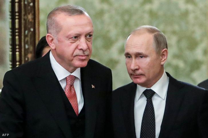 Recep Tayyip Erdoğan és Vlagyimir Putyin a moszkvai orosz-török találkozón 2019. április 8-án