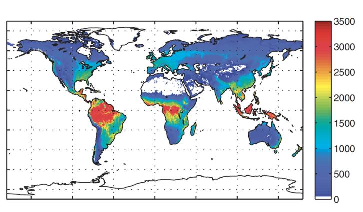 A szárazföldi ökoszisztémák szénelnyelése (gramm szén/négyzetméter/év)