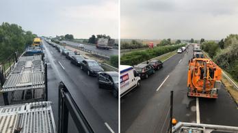 15 km-es a torlódás az M7-esen a konvojbaleset miatt