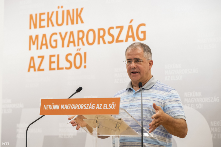 Chief of Fidesz's municipal campaign and former mayor of Debrecen Lajos Kósa speaking at his press conference at the party's Lendvay street HQ in Budapest on 30 July 2019.