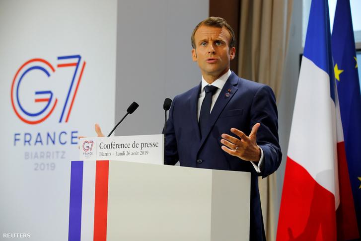Emmanuel Macron a G7 csúcstalálkozón 2019. augusztus 26-án.