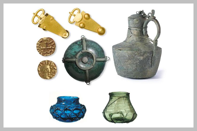 Néhány a sírkamrában talált tárgyak közül.