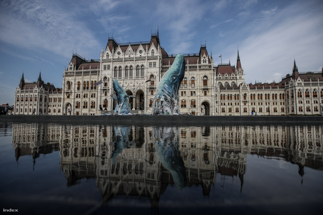 Life-sized whales made of garbage collected on the shores of Italy. Greenpeace erected the installation in front of the Hungarian Parliament in Budapest on 9 July 2019 to raise awareness of the global problem caused by plastic waste.