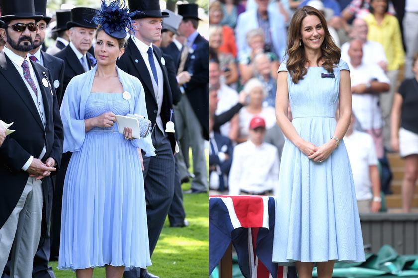 A babakék szín mindkettejüknek remekül áll - még hasonló fazonú ruhát is választottak ebben az árnyalatban.