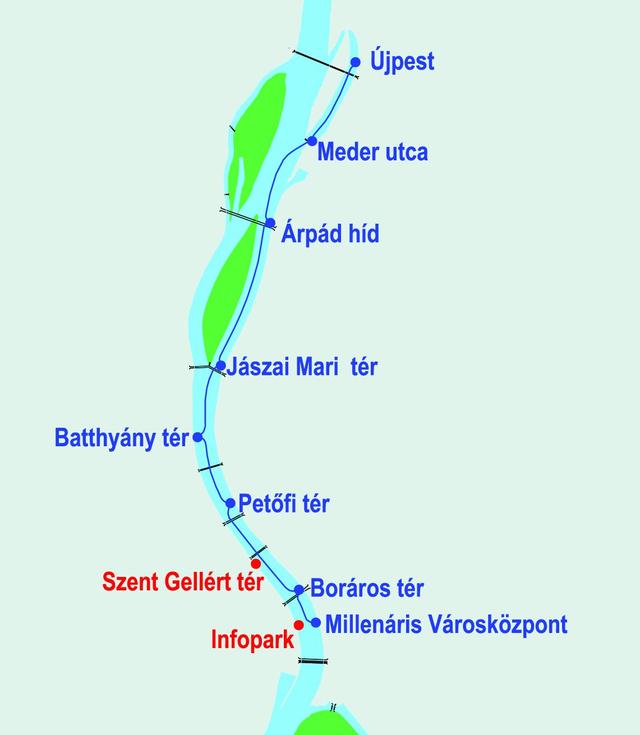 Az új vonal, a két későbbi lehetséges állomással (Forrás: BFVT)