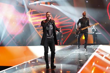 A Compact Disco az Eurovíziós Dalfesztivál színpadán Magyarország képviseletében - forrás: eurovision.tv - fotós: Thomas Hanses