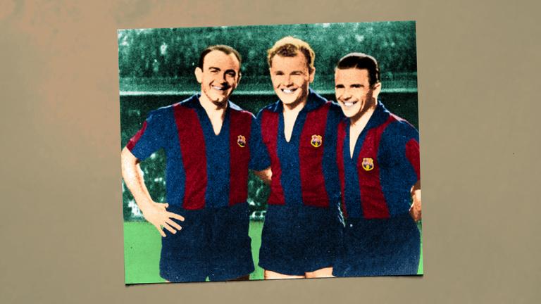 Mit csinált Puskás Barcelona-mezben?
