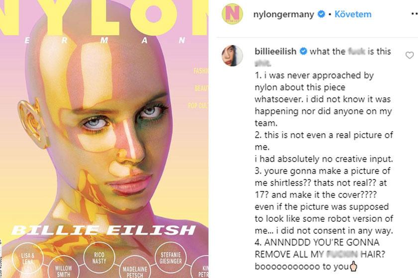 Az ominózus címlap és Billie Eilish kommentje.