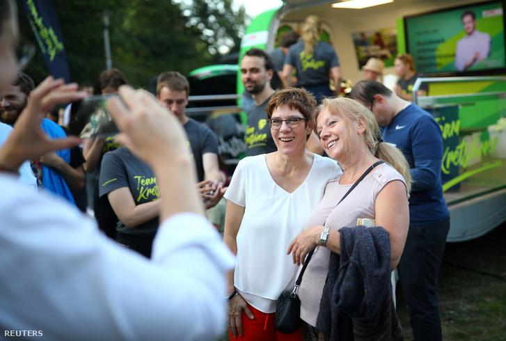 Annegret Kramp-Karrenbauer a CDU elnöke pártja rendezvényén Leipzigben a Szászországi tartományi választási kampányban, 2019. augusztus 23-án