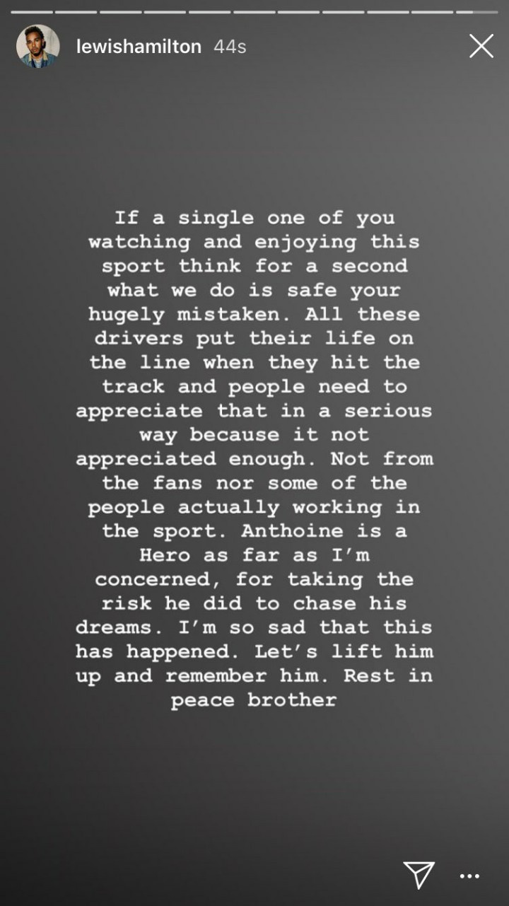 Lewis Hamilton üzenete