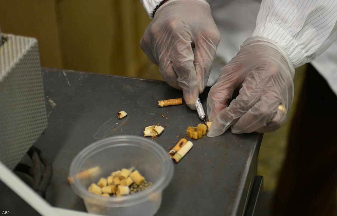 A TerraCycle Global kutatási és fejlesztési vezetője mutatja be a cigarettacsikk újrahasznosításának menetét a cég központjában New Jersey-ben 2013-ban.