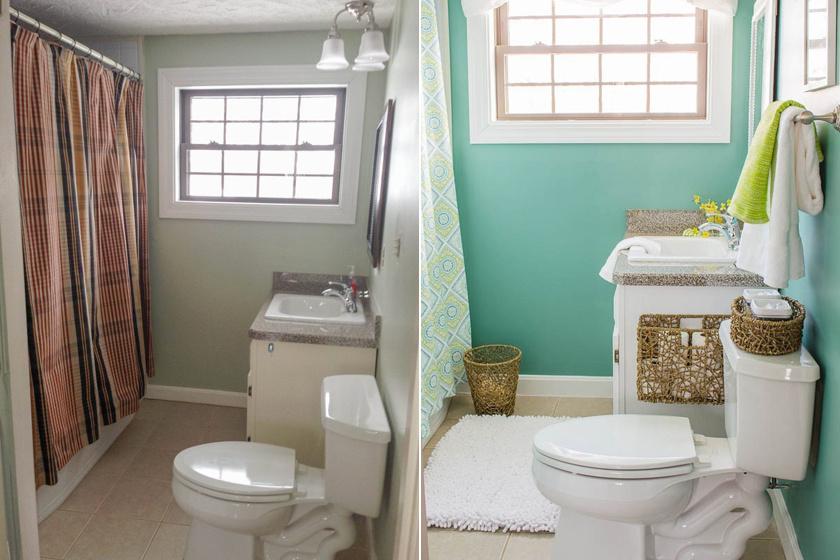 A türkizzöld gazdag és izgalmas szín, ami nemcsak játékosságot, de merészséget és kifinomultságot is áraszt. Egy új zuhanyfüggönnyel, szőnyeggel és egy újrafestett szekrénnyel igazán modern hatást kelt.