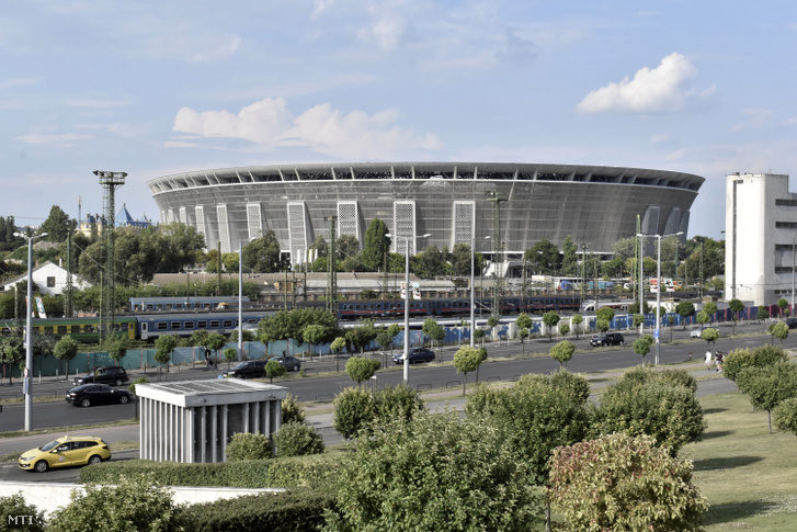 Az épülő Puskás Ferenc Stadion 2019. július 19-én.