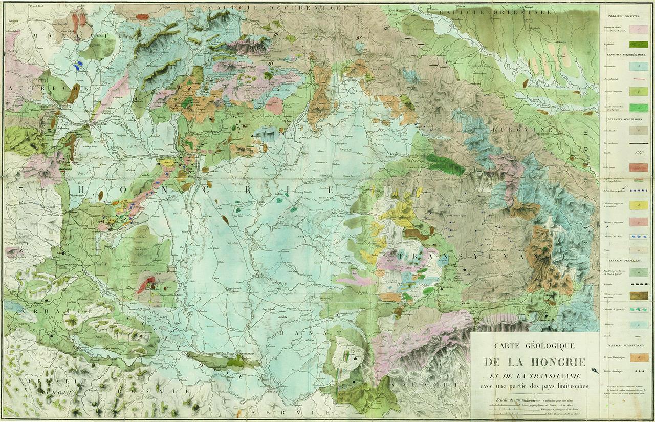 Magyarország első, az ország teljes területét lefedő földtani térképe, 1822-ből. Farncois-Suplice Beudant 1818-as utazása alapján szerkesztette és rajta 24-féle földtani képződményt különített el.