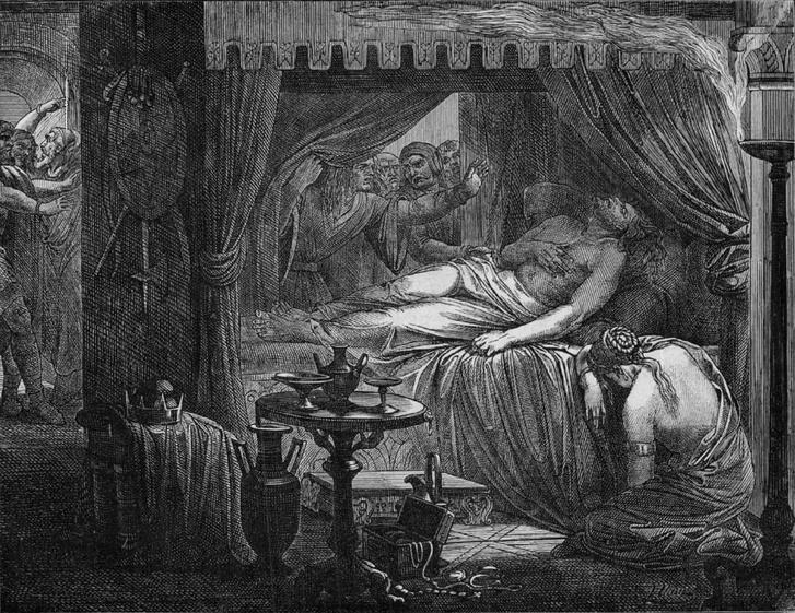 """Attila halála Julius Naue német művész """"A népvándorlás"""" című metszetsorozatából."""