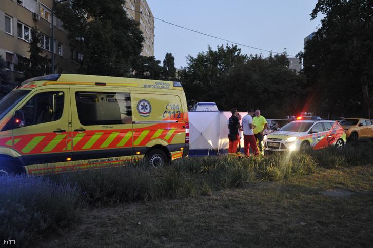 Mentõk és baleseti helyszínelõk 2019. augusztus 31-én Budapest XIV. kerületében a Vezér utca és a Füredi utca keresztezõdésénél.