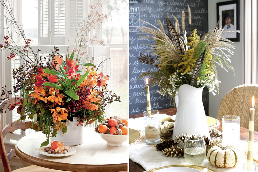 Ágakból, termésekből és az ősz legszebb növényeiből igazi kis kertet varázsolhatsz az étkezőasztalra.