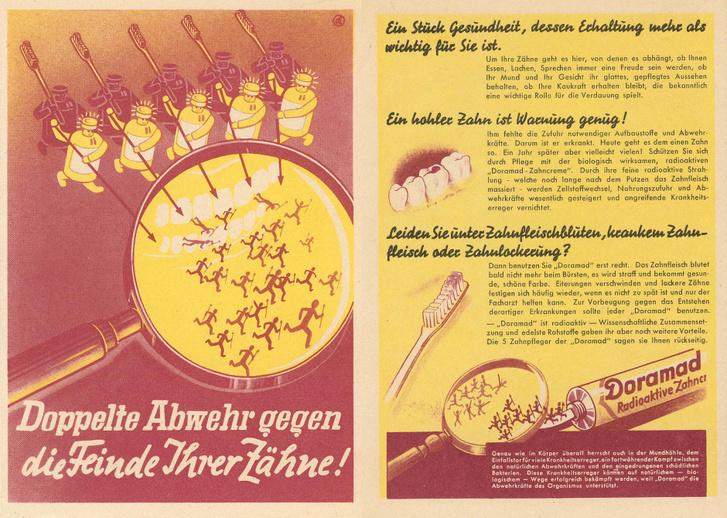 Radióaktív fogkrém szórólapja