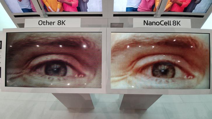 Azt mondja az LG, hogy mind az OLED, mint a Nanocell 8K tévéje teljesíti az elvárt kontrasztarányt a pixeleknél, szemben más gyártók 8K tévéivel
