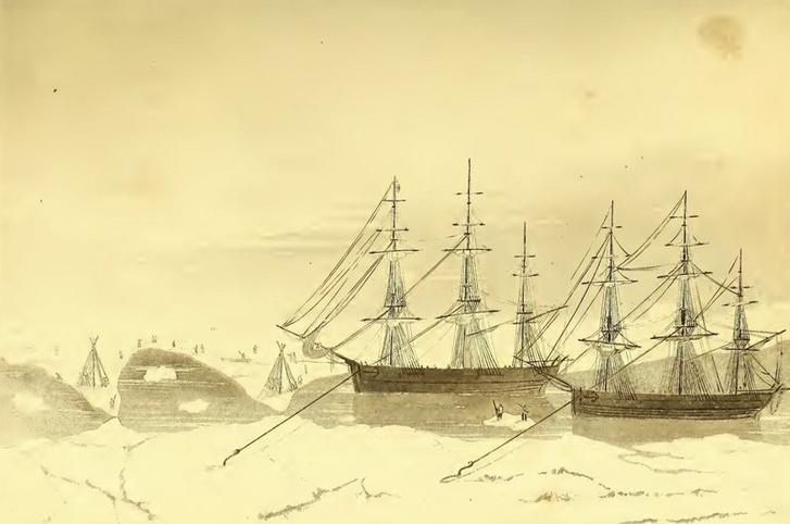 Az Isabelle és Alexander legénysége a hajókat a jégen húzta.