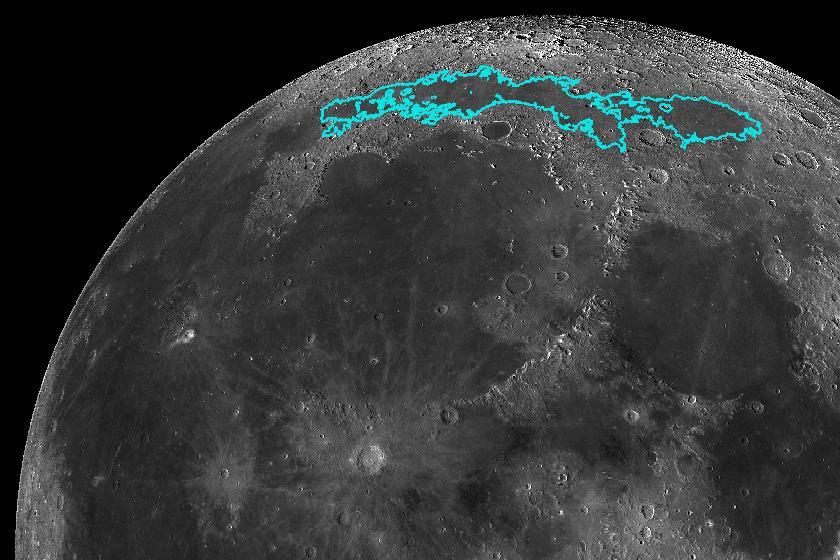 A NASA képe: kékkel jelölték a Mare Frigorist.