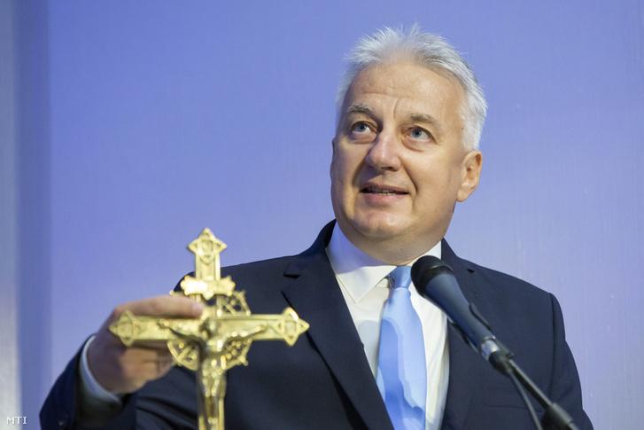 Semjén Zsolt miniszterelnök-helyettes felszólal a Budapest Forum for Christian Communicators konferencia nyitónapján a Nemzeti Közszolgálati Egyetemen 2019. szeptember 4-én.