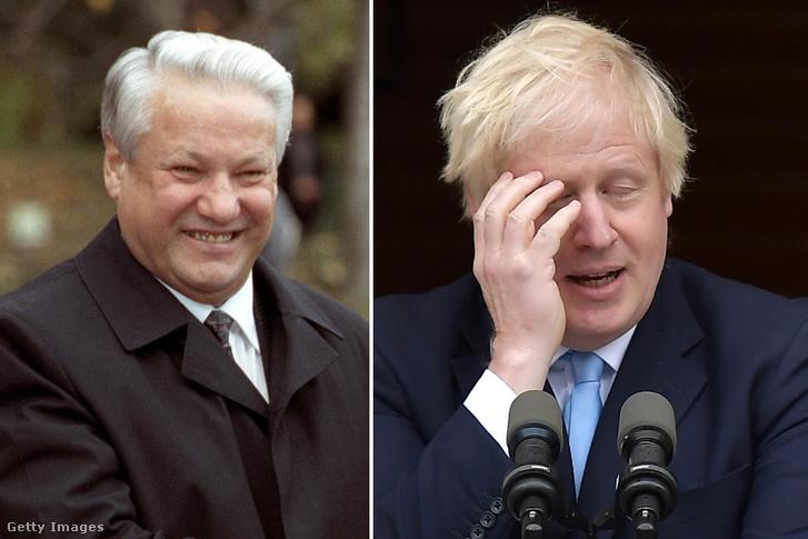 Borisz Jelcin 1991-ben és Boris Johnson 2019-ben