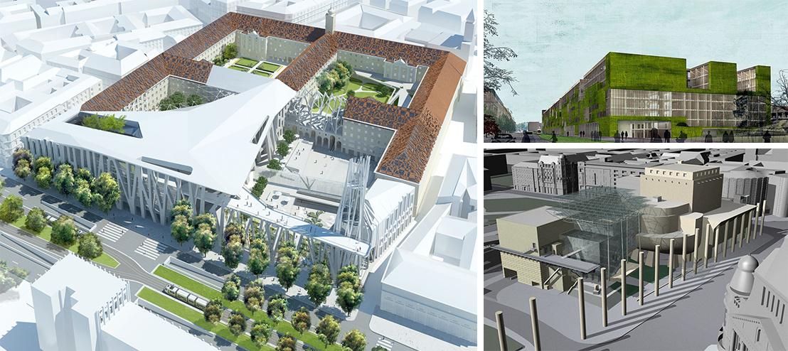 Bal oldalt: a Városház-projekt, jobb felül a Nyugati mellé tervezett kormányzati negyed, jobb alul a Deák téri Nemzeti Színház látványterve