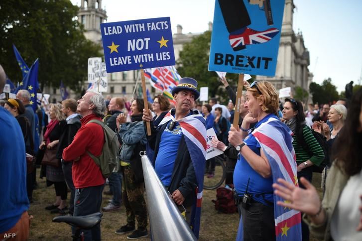 Brexit ellenes tüntetők a londoni Parlament előtt szeptember 4-én