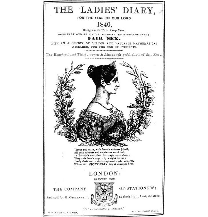 """A The Ladies' Diary egy későbbi címlapja, amely """"érdekes és értékes matematikai kutatási eredményeket"""" ígér"""