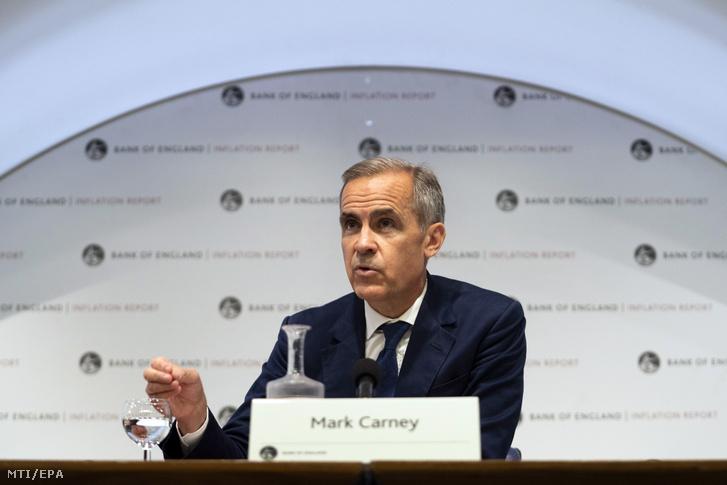 Mark Carney, a brit jegybank elnöke sajtótájékoztatót tart a bank londoni épületében 2019. augusztus 1-jén. Carney bejelentette, hogy a brit jegybank nem módosította alapkamatát, így az változatlanul 0,75 százalék.