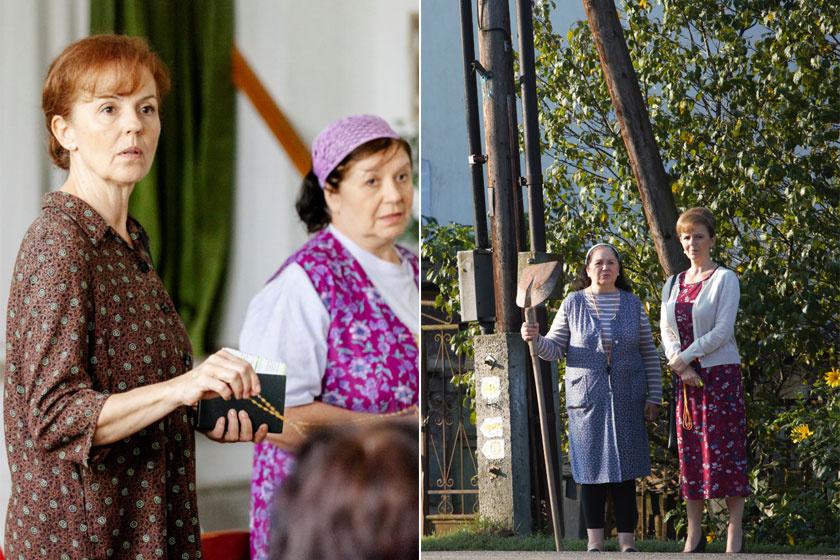 Tóth Enikő és Zsurzs Kati, vagyis Zömbikné és Piroska, akiknek A mi kis falunkban sok közös jelenetük van.