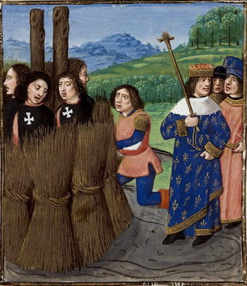 Illusztráció egy Boccaccio-műből: a templomosok máglyahalála.
